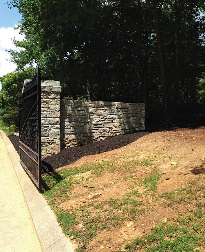 Cambridge Estate's stone wall exit